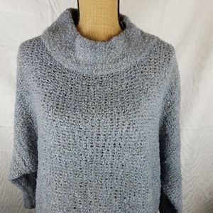 Woven Heart mock neck knit gray sweater oversized